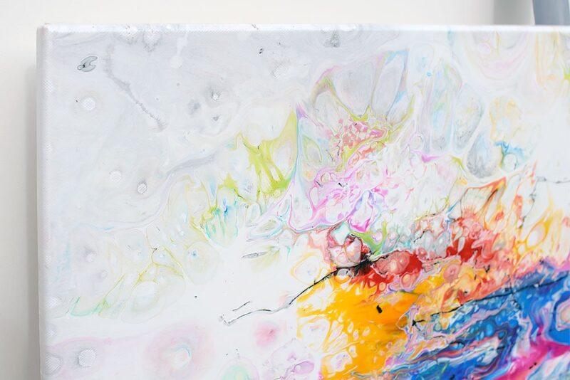 Ausschnitt aus einem modernen Leinwand Acrylbild Fusion II 100x100 cm