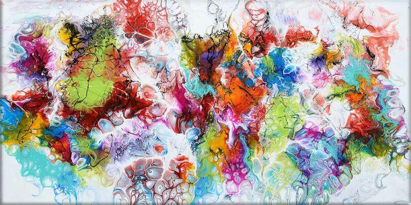 Abstrakte Gemälde sind moderne Kunst für die Wohnung Fusion I 70x140 cm