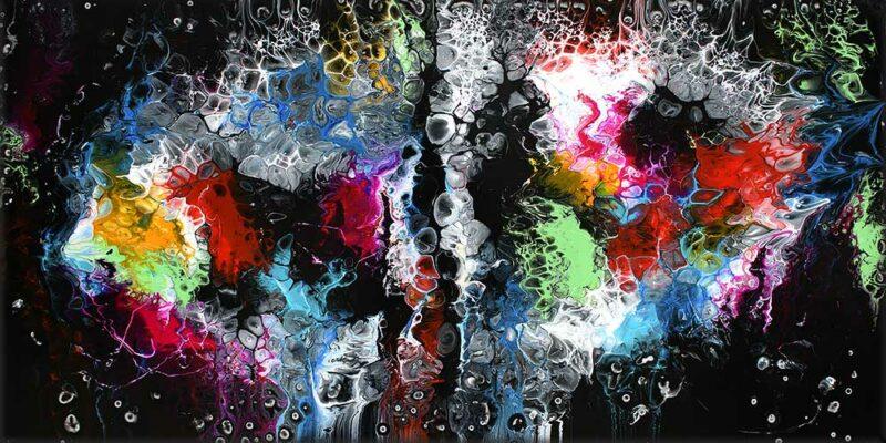 Abstrakter Malerei mit gegenwärtiger Kunst in trendigen Farben Lights I 70x140 cm