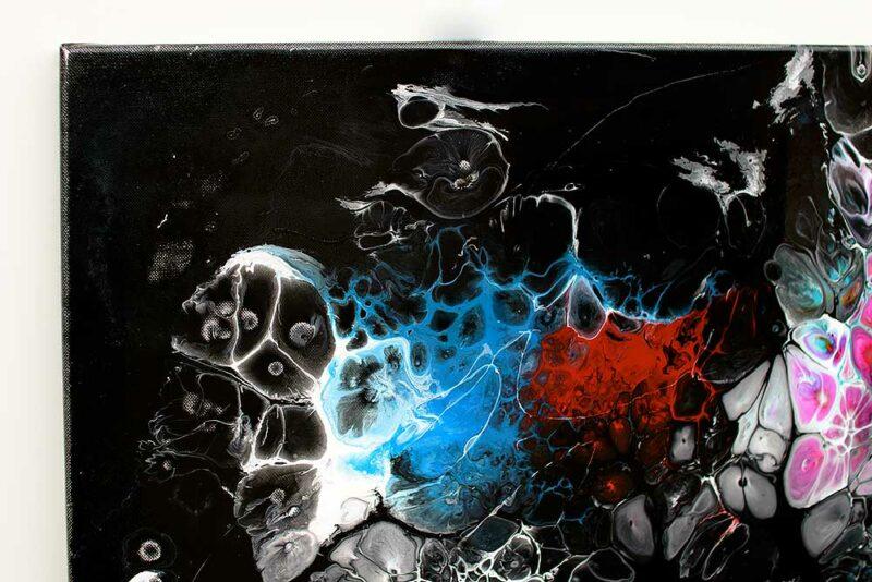 Ausschnitt aus modernem Acrylbild in trendigen Farben Lights II 100x100 cm