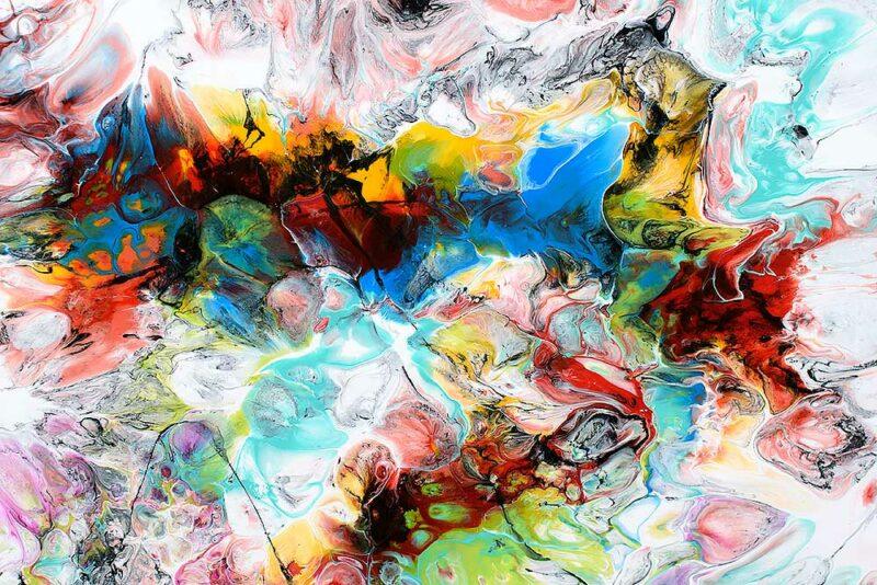 Elemente aus einem abstrakten modernen Wandbild Fusion V 70x140 cm