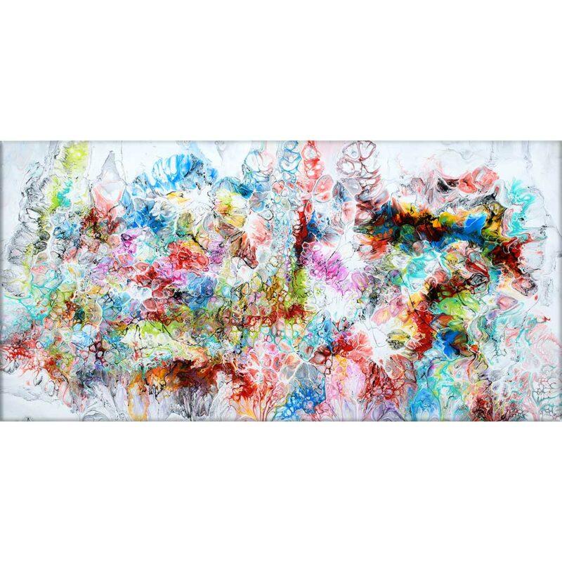Farbige Wandbilder in Großformat passen perfekt ins Wohnzimmer Fusion V 70x140 cm