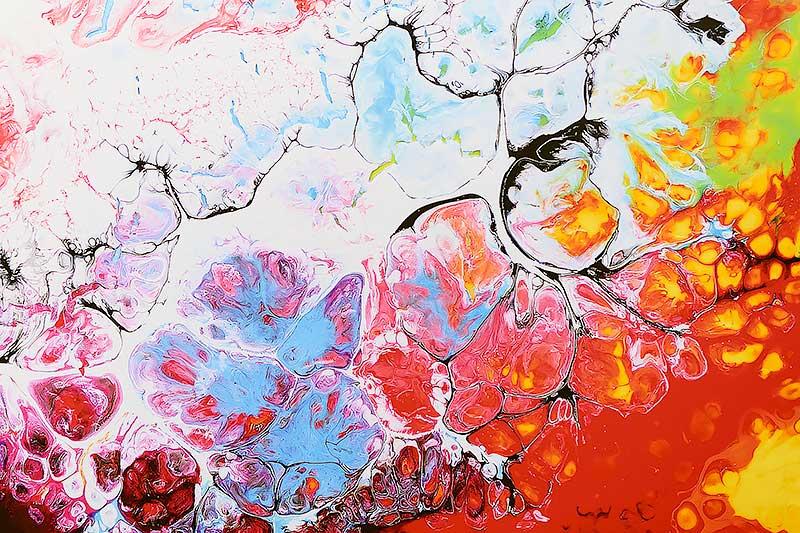 Feine kleine Elemente vom Kunstwerk auf Leinwand Fragments III 70x140 cm