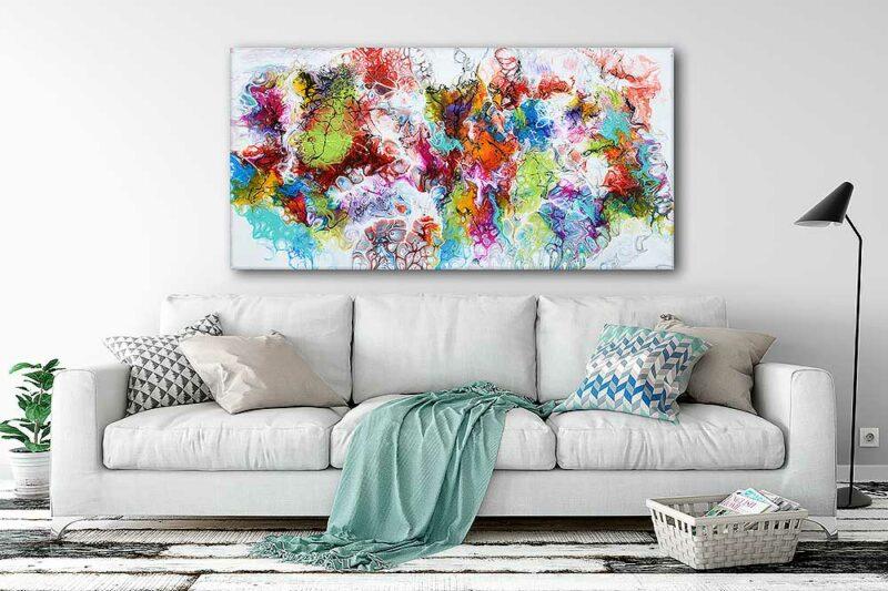 Große Gemälde sind schöne Bilder für die Wand im Wohnzimmer Fusion I 70x140 cm