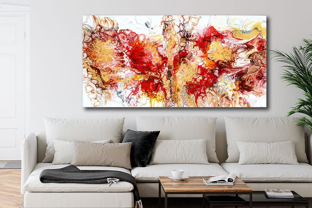 Große Gemälde XXL für die Wand im Wohnzimmer Pulse I 70x140 cm