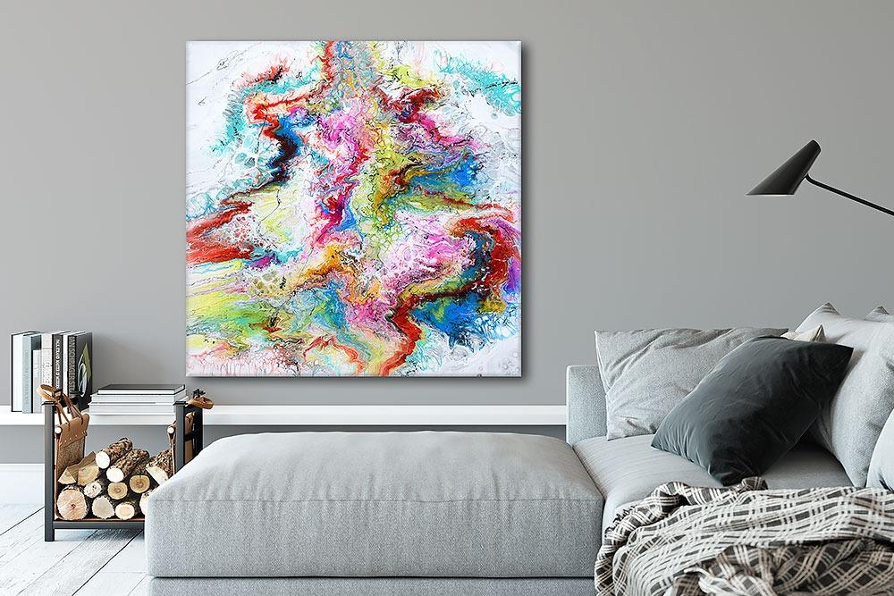 Große Gemälde XXL in höchster Qualität für die Wohnzimmerwand Fusion IV 100x100 cm