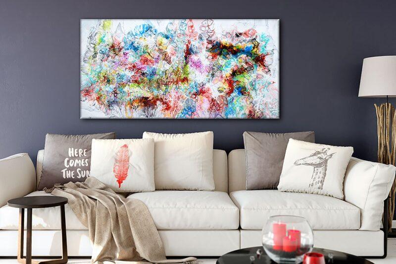 Grosse Wandbilder XXL sind eine schöne Ambiente im Wohnzimmer Fusion V 70x140 cm