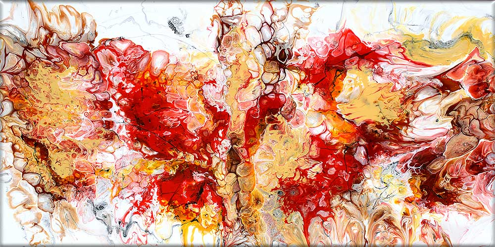 Handgemalte Acrylgemälde in roten Farben Pulse I 70x140 cm