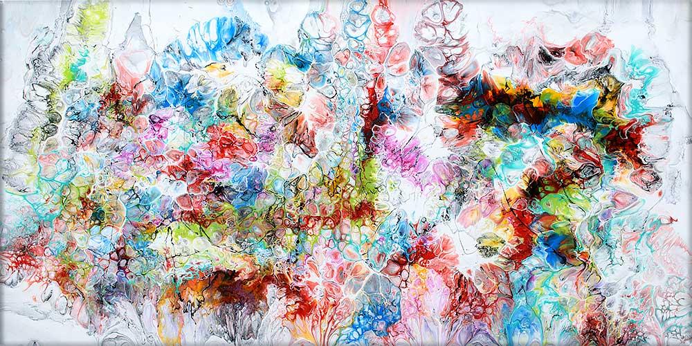 Handgemaltes abstraktes Wandbild in trendigen Farben Fusion V 70x140 cm