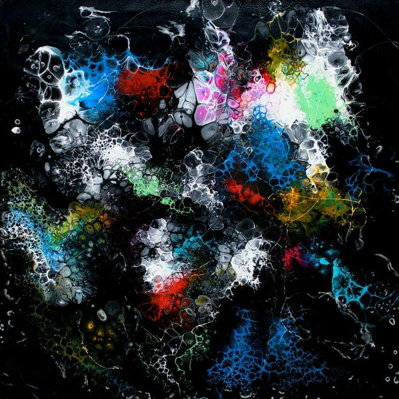 Handgemaltes Acrylbild mit moderner Kunst Lights II 100x100 cm