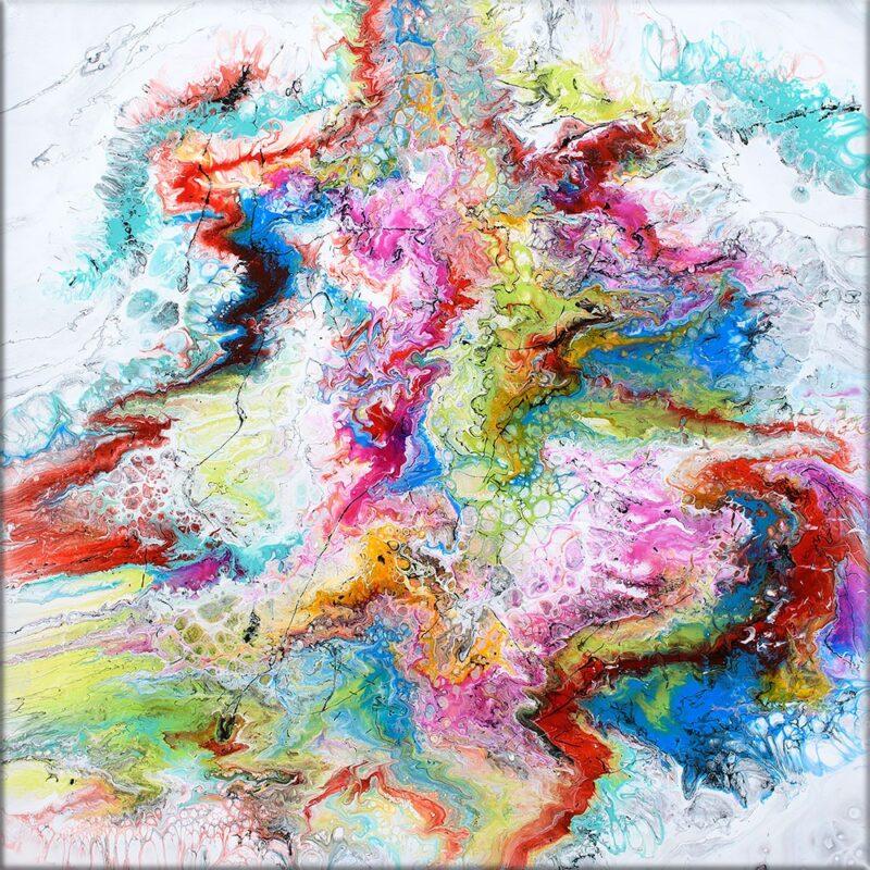 Handgemaltes Gemälde für die Wände in der Wohnung Fusion IV 100x100 cm