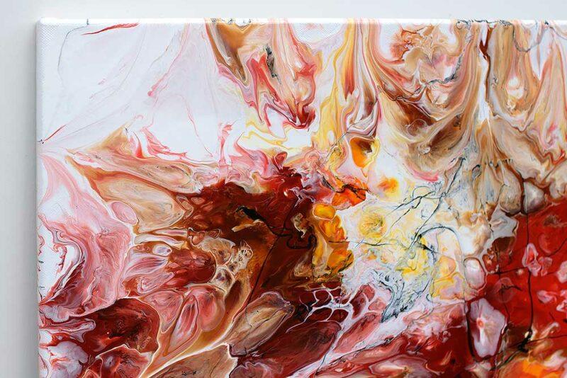 Schöne Gemälde Teil in tollen roten Farben Pulse I 70x140 cm