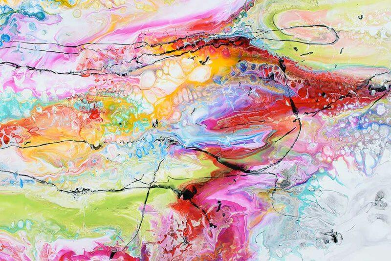 Zoom ansicht von einem abstrakten Acrylbild Fusion II 100x100 cm