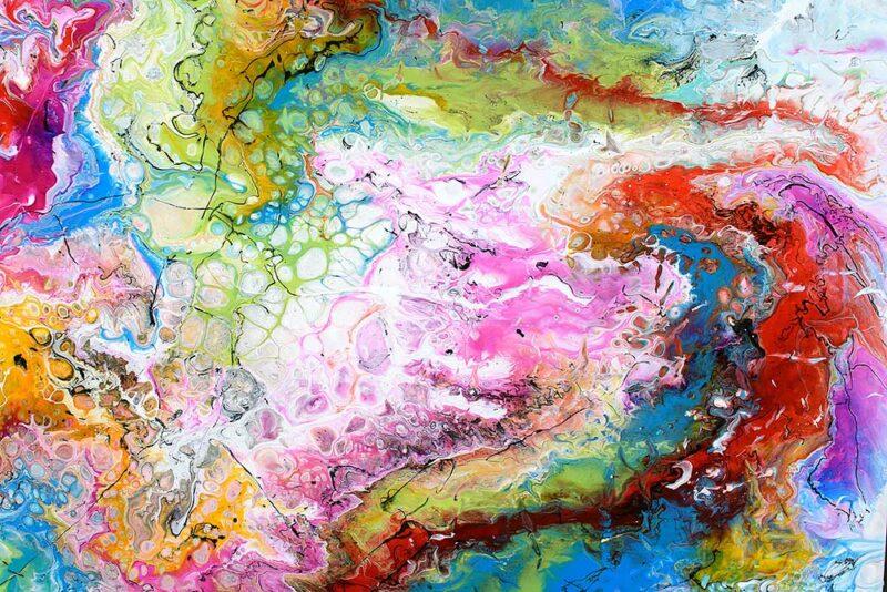 Zoomansicht von einem farbigen trendigen Gemälde Fusion IV 100x100 cm