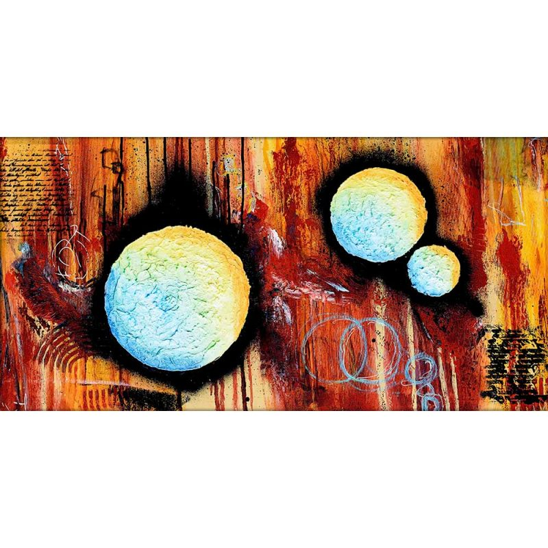 Große Leinwandbilder mit moderner Kunst in Querformat Sphere II 70x140 cm