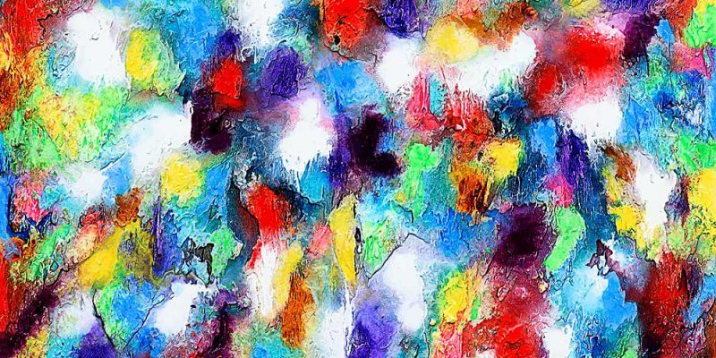 Abstrakter Kunstdruck in ansprechende moderne Farben Alteration I 70x140 cm