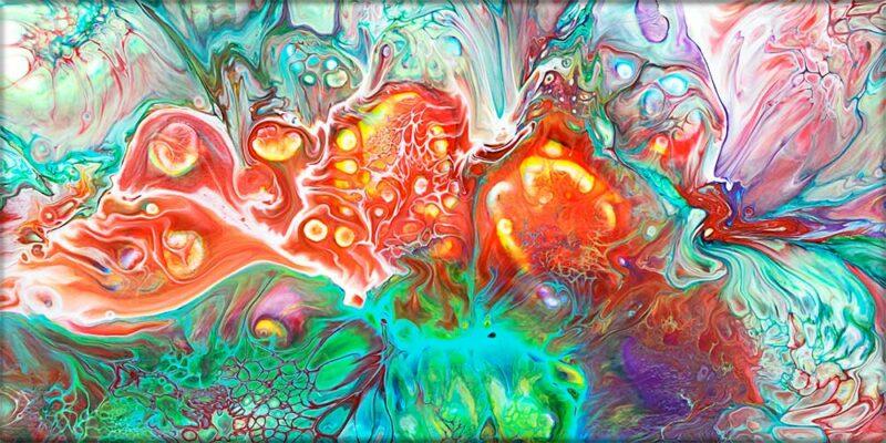 Abstraktes Bild auf Leinwand in schönen orangen und grünen Farben Organic I 70x140 cm