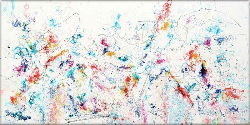 Eleganter Druck auf Leinwand in einem abstrakten Kunstdesign Prime VII 70x140 cm