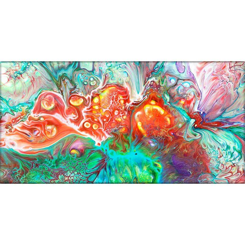 Exklusives Bild auf Leinwand mit abstrakter Kunst in trendigen Farben Organic I 70x140 cm