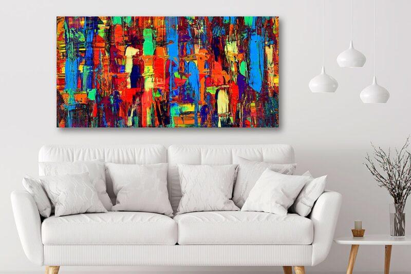 Farbenfreudiges Leinwandbild mit abstrakter Kunst für die Wände Fireflies I 70x140 cm