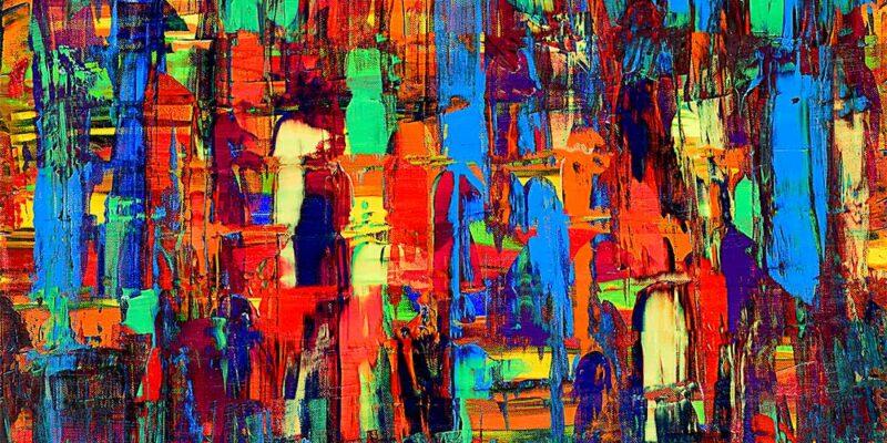 Farbenfrohes Leinwandbild mit moderner Kunst Design Fireflies I 70x140 cm