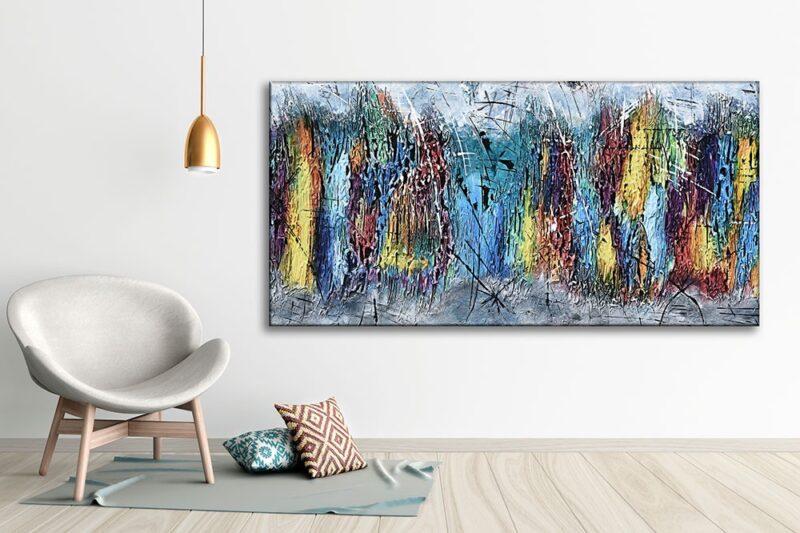 Leinwanddruck in moderne Farben für die Wand ins Wohnzimmer Downtown I 70x140 cm