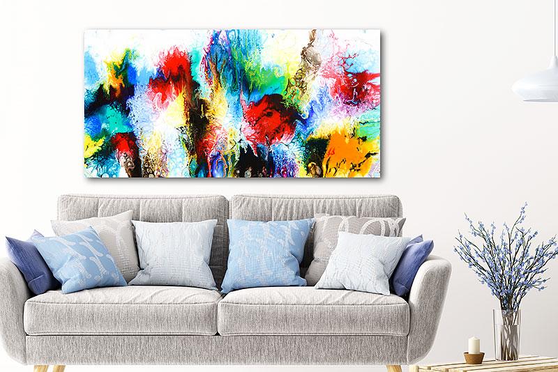 Abstraktes Gemälde für die Wand über das Sofa Elevation IV 70x140 cm
