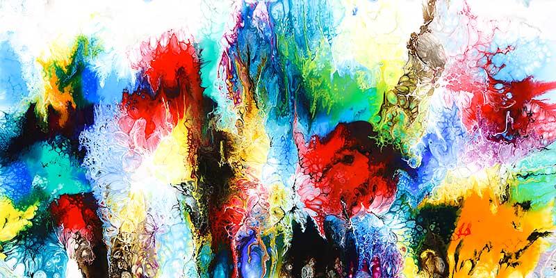 Abstraktes Gemälde in trendiges Design mit bezaubernden Farben Elevation IV 70x140 cm