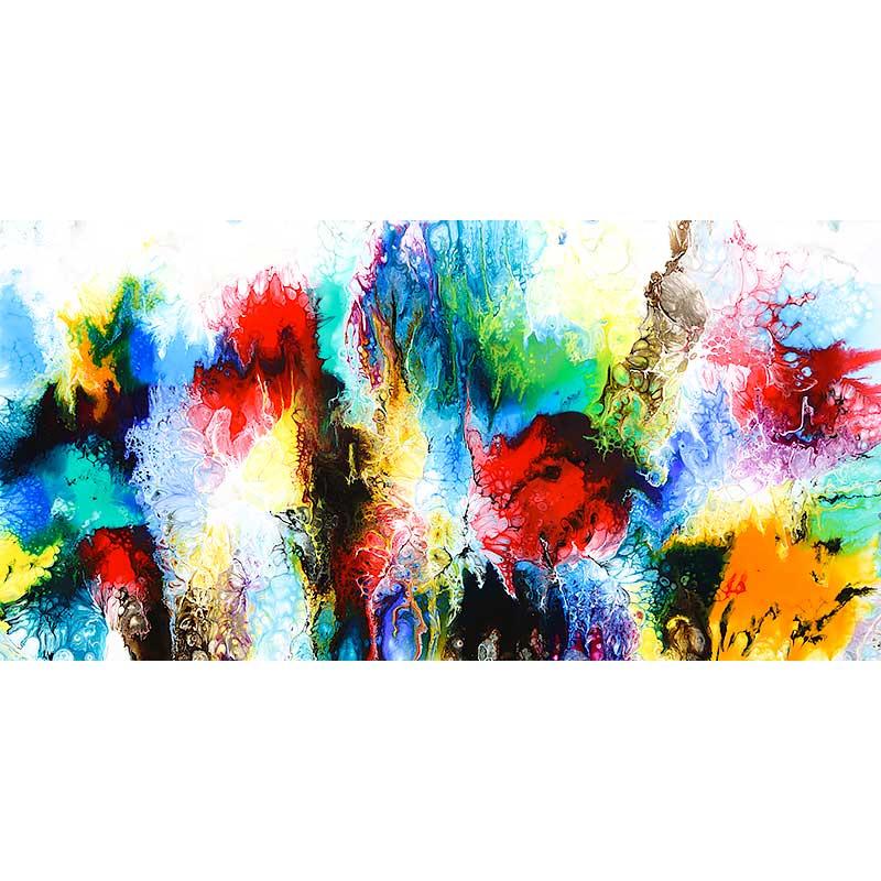 Abstraktes Gemälde in einem gegenwärtigen Kunstdesign mit klassischen Farben Elevation IV 70x140 cm