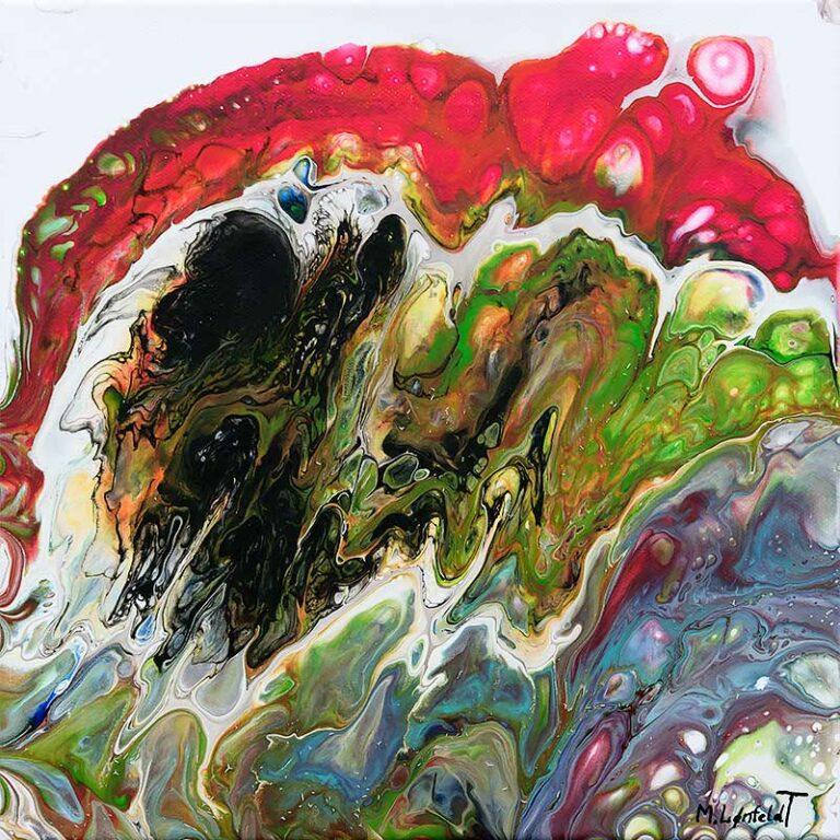 Acrylbild in Kleinformat mit modernen Farben Evolve I 30x30 cm