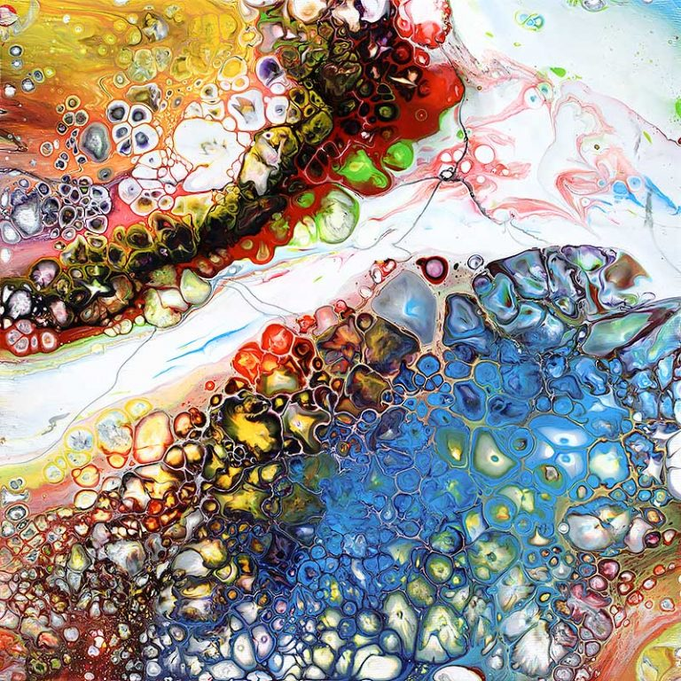 Buntes kleines Gemälde mit viel Variation Blaze I 30x30 cm