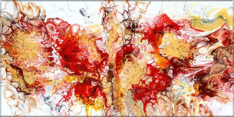 Farbenfrohes Leinwandbild mit abstraktem Motiv Pulse I 70x140 cm