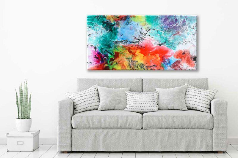 Farbenreiches Leinwandbild für Zuhause Altitude III 70x140 cm