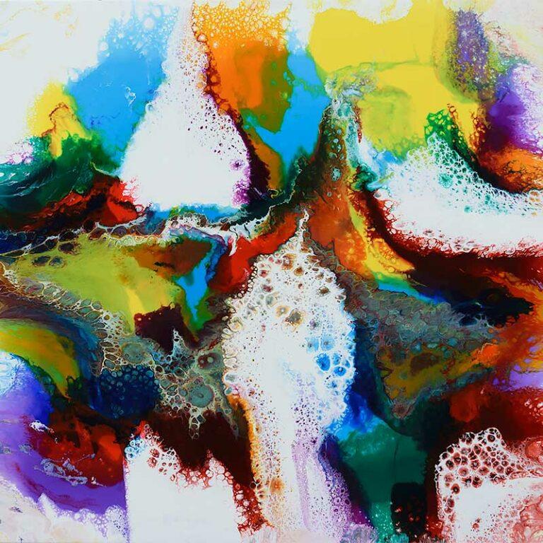 Großes Wandbild mit abstraktem Design in schönen Farben Brilliance I 100x100 cm