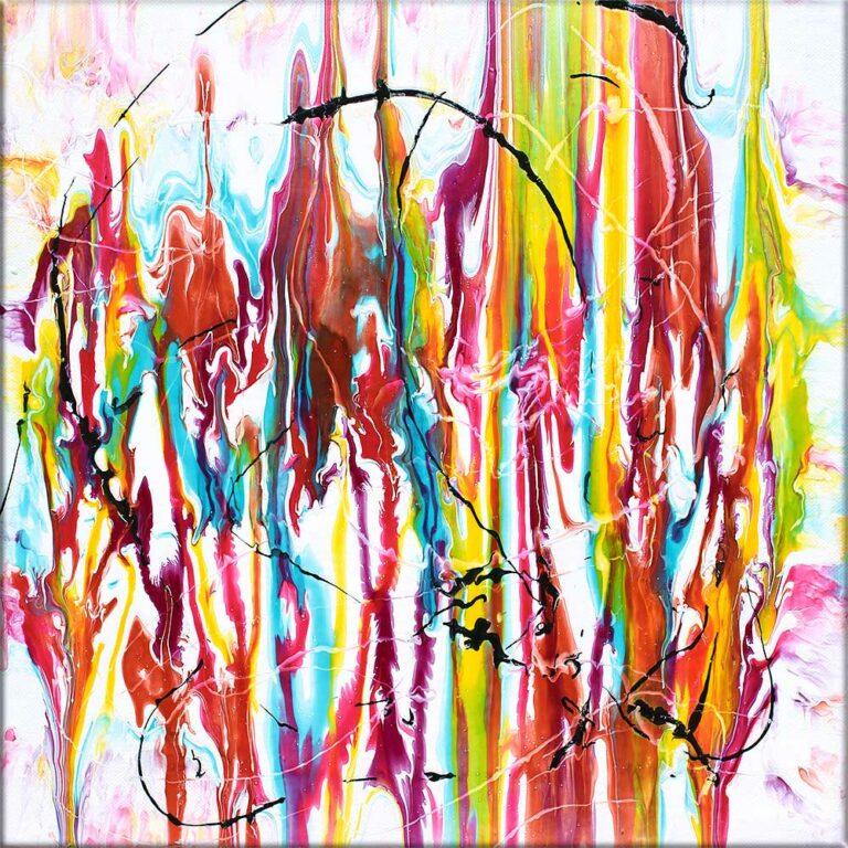 Kleine Acrylmalerei mit farbenfreudigem Kunst Design Heroic II 40x40 cm