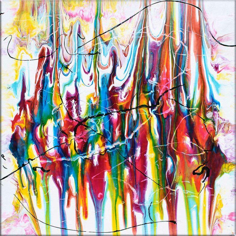 Kleines Acrylbild mit abwechslungsreichen Farben Heroic I 40x40 cm