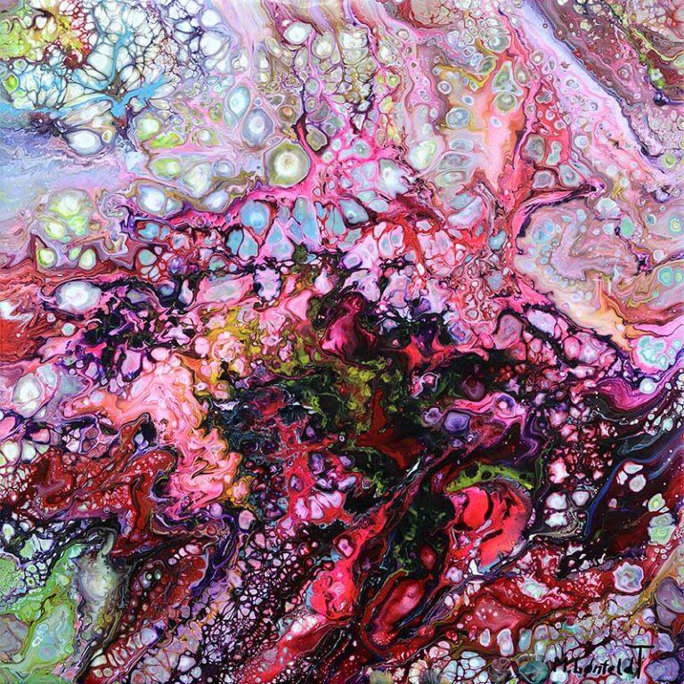 Kleines Wandbild mit Farben in Rot und Pink Passion I 30x30 cm