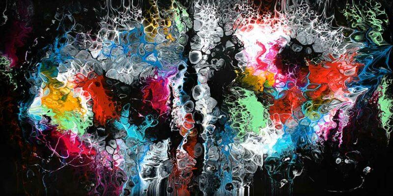 Kunstdruck auf Leinwand in moderne Farben Lights I 70x140 cm