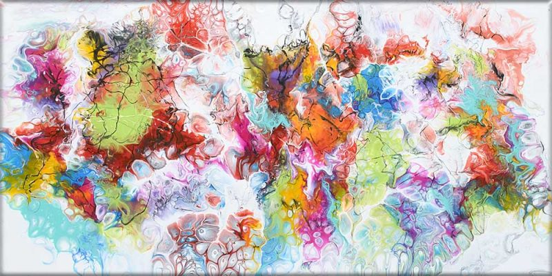 Leinwandbild mit gegenwärtiger Kunst Fusion I 70x140 cm