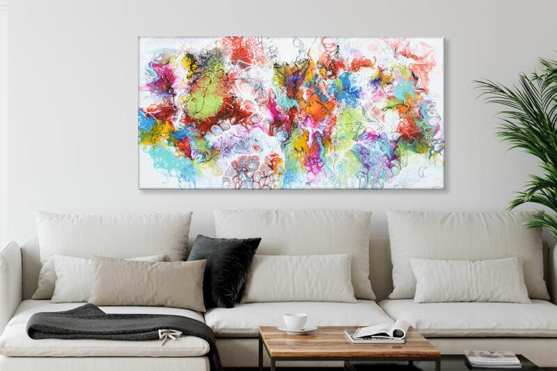 Leinwandbild mit trendiger Kunst fürs Wohnzimmer Fusion I 70x140 cm