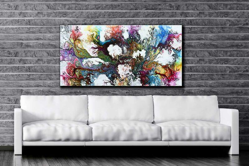 Leinwandbild XXL mit abstraktem Kunstdesign fürs Wohnzimmer Interstellar I 70x140 cm
