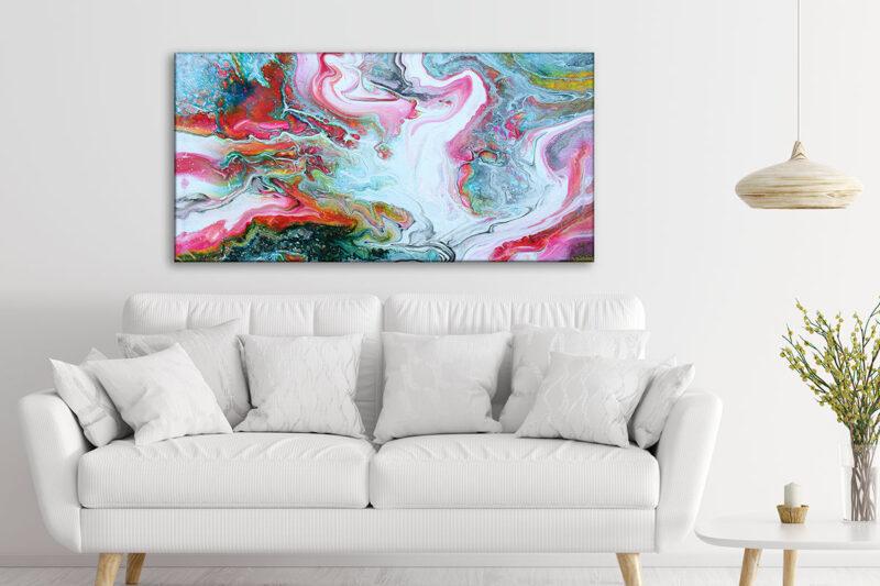 Modernes Kunstdruck auf Leinwand Fürs Wohnzimmer Flows I 70x140 cm